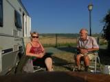 Samen op de camping bij de Refugio in Puente la Reina,